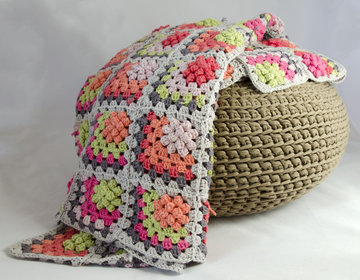 Patroon granny square plaid+30 bollen Drops Paris katoen