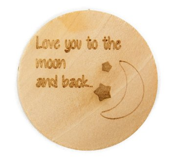Houten knoop 3.5cm Love you to the moon and back