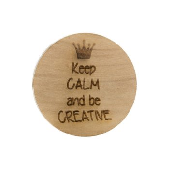 Houten knoop 2.5cm Keep calm and be creative