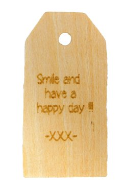 Houten label Smile and have a happy day 6x3 cm