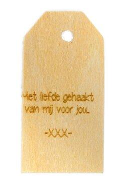 Houten label Met liefde gehaakt van mij voor jou 6x3 cm