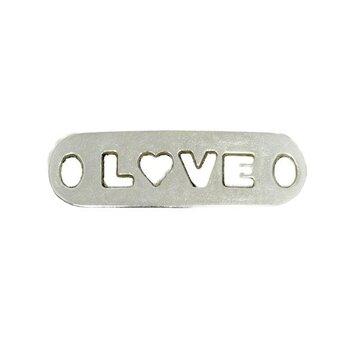 Bedel LOVE uitgestanst hartje zilver