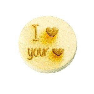 Houten knoop 2cm I heart your heart