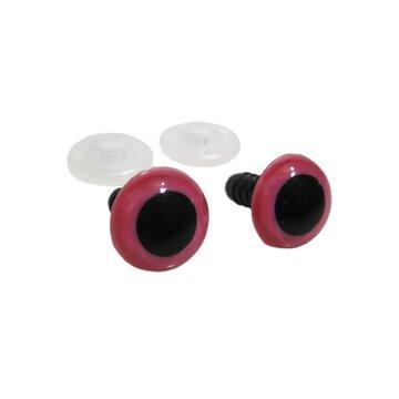Veiligheidsoogjes roze/zwart 2 paar