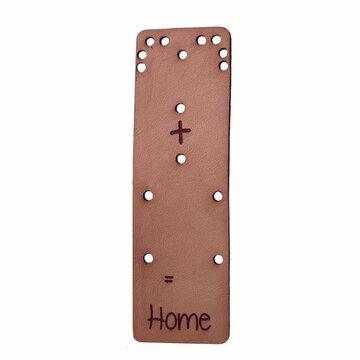Leren label 8x2,5cm Heart+house=home