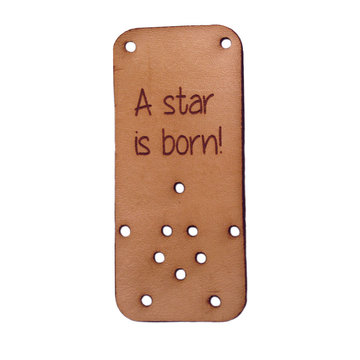 Leren label 7x3cm A star is born!
