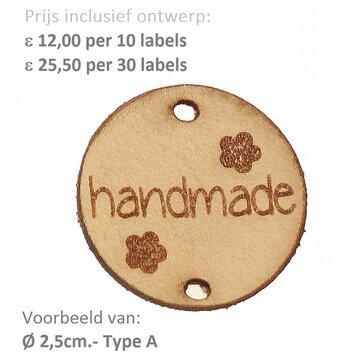 Leren labels rond 2,5 cm met eigen tekst, type A