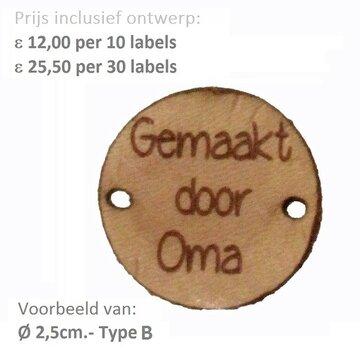 Leren labels rond 2,5 cm met eigen tekst, type B