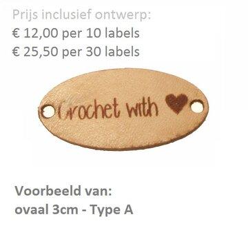 Leren labels ovaal 3 cm met eigen tekst, type A