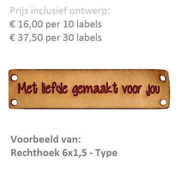 Leren labels rechthoek 6x1,5 cm met eigen tekst, type A