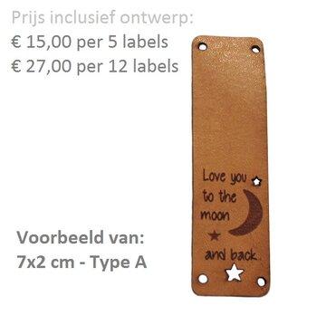 Leren labels rechthoek 7x2 cm met eigen tekst, type A