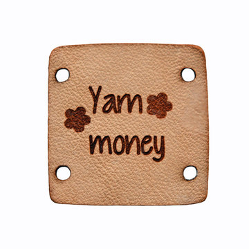 Leren label 2,5x2,5 cm Yarn Money