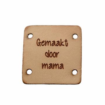Leren label 2,5x2,5 cm Gemaakt door mama