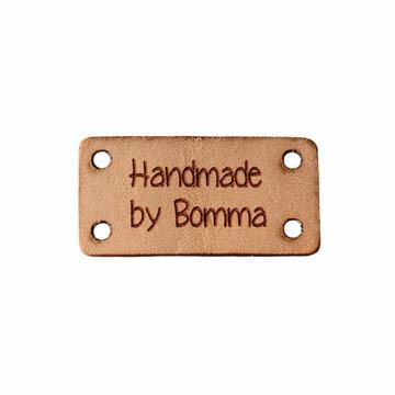 Leren label 3x1,5 cm Handmade by Bomma