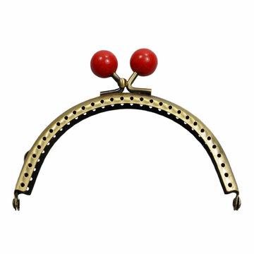 Portemonnee sluiting 10,5cm brons met knop in rood