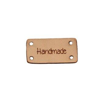 Leren label 3x1,5 cm Handmade