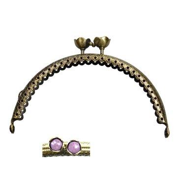 Portemonnee sluiting 10,5cm brons met bloemknop in lila