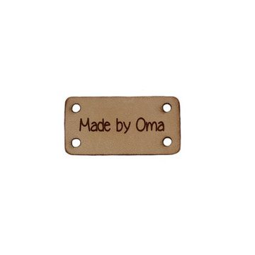 Leren label 3x1,5 cm Made by oma