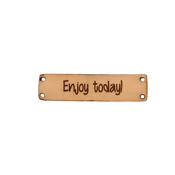 Leren label 6x1,5 cm Enjoy today!