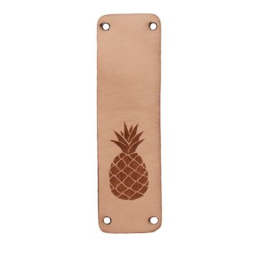 Leren label 7x2cm Ananas