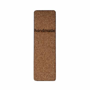 Kurk label 2,5 x 8 cm Handmade tekst bovenaan