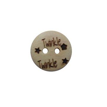 Houten knoop 1,5 cm Twinkle twinkle