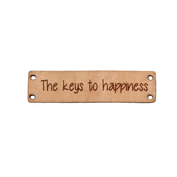 Leren label 6x1,5 cm The keys to happiness