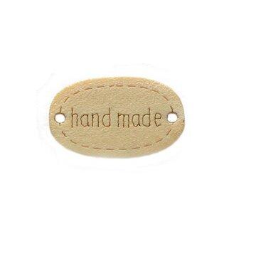 Houten label ovaal Handmade 2 cm