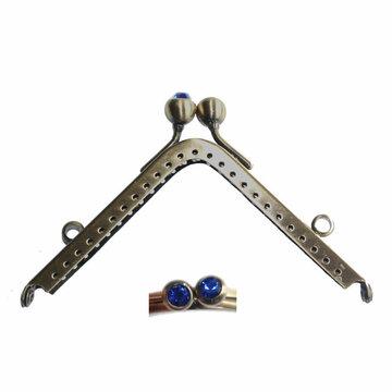 Portemonneesluiting vierkant met strassknop kobaltblauw