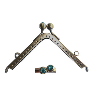 Portemonneesluiting vierkant met strassknop turquoise