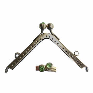 Portemonneesluiting vierkant met strassknop groen