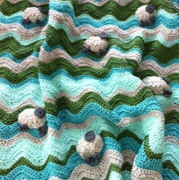 Patroon schaapjes babydekentje + 10 bollen Catona en Larra katoen