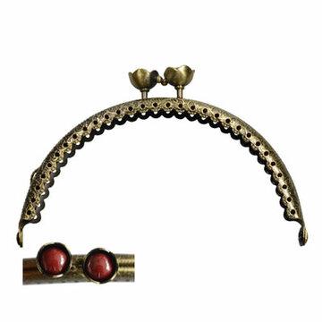 Portemonnee sluiting 10,5cm brons met bloemknop in rood