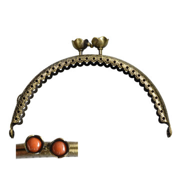 Portemonnee sluiting 10,5cm brons met bloemknop in oranje