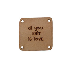 Leren label 3x3cm All you knit is love