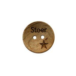Houten knoop 2cm Stoer met ster