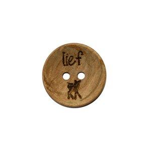 Houten knoop 2cm Lief met hertje