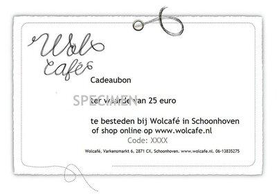 Wolcafé cadeaubon 25 euro