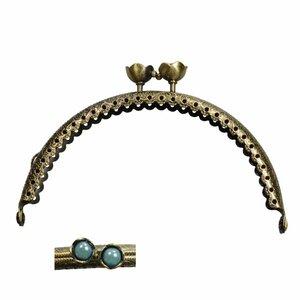 Portemonnee sluiting 10,5cm brons met bloemknop in turquoise