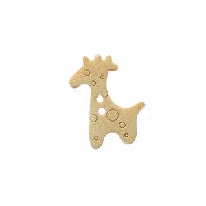 Houten knoopje girafje