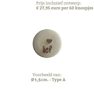 Houten knopen 1,5cm met eigen tekst, type A