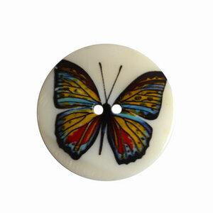 Parelmoer knoop met vlinder
