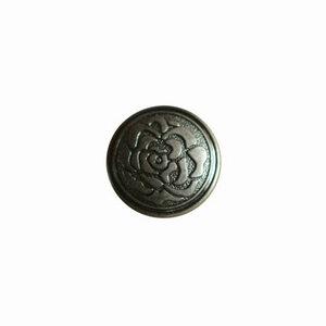 Metalen knoopje oud zilver met bloemprint