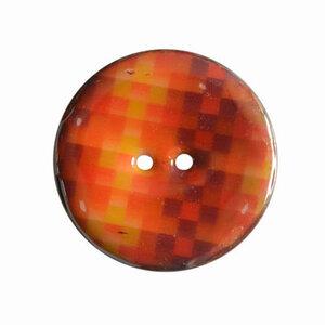 Houten knoop met ruitprint oranje