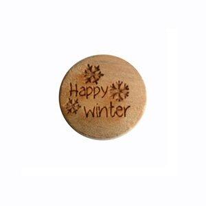 Houten knoop met tekst Happy Winter