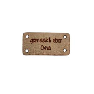 Leren label 3x1,5 cm Gemaakt door oma