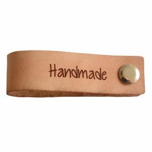 Leren label met schroef Handmade