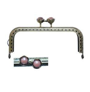 Portemonnee sluiting 10,5cm brons met bloemknop in roze