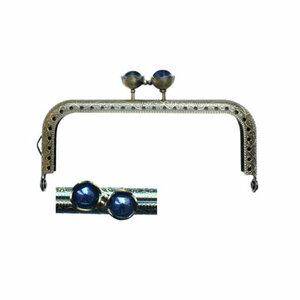 Portemonnee sluiting 10,5cm brons met bloemknop in donkerblauw