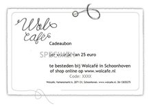 Wolcafe cadeaubon twv 15 euro